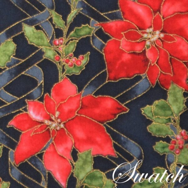 Sweet Pea Linens - Poinsettia Garland Holiday Print Rectangle Placemats - Set of Four plus Center Round-Charger (SKU#: RS5-1002-U14) - Swatch