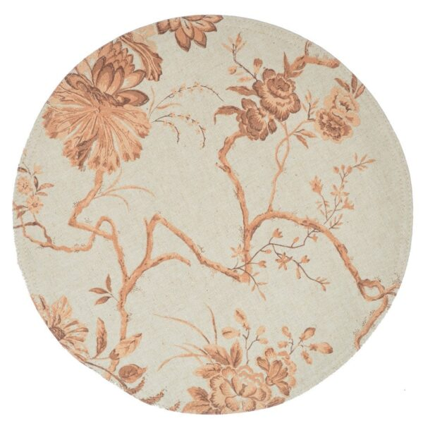 Sweet Pea Linens - Sage & Brown Floral Print Charger-Center Round Placemat (SKU#: R-1015-U3) - Product Image