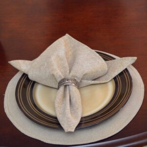 Sweet Pea Linens - Beige Crypton Twill Charger-Center Round Placemat (SKU#: R-1015-U6) - Table Setting