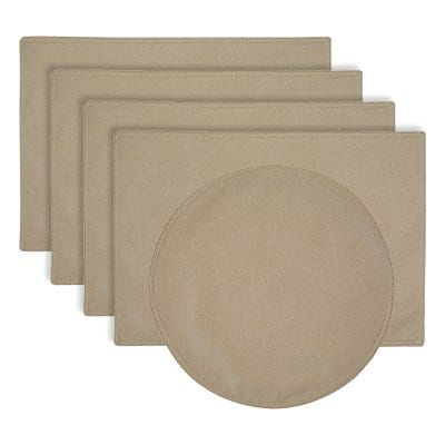 Sweet Pea Linens - Beige Crypton Twill Rectangle Placemats - Set of Four plus Center Round-Charger (SKU#: RS5-1002-U6) - Product Image