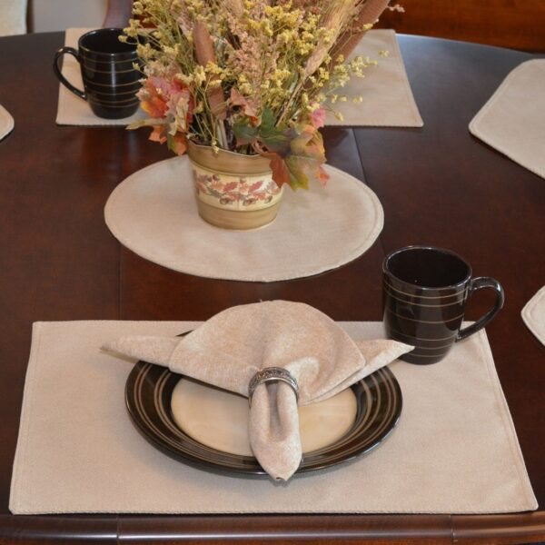 Sweet Pea Linens - Beige Crypton Twill Rectangle Placemats - Set of Four plus Center Round-Charger (SKU#: RS5-1002-U6) - Table Setting