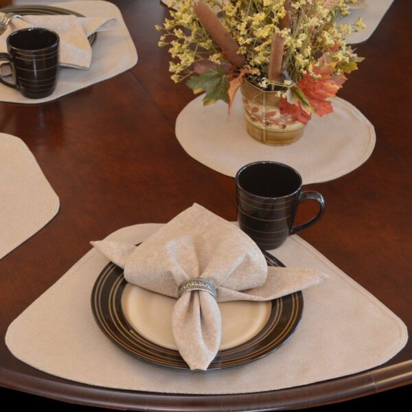 Sweet Pea Linens - Beige Crypton Twill Wedge-Shaped Placemats - Set of Four plus Center Round-Charger (SKU#: RS5-1006-U6) - Table Setting