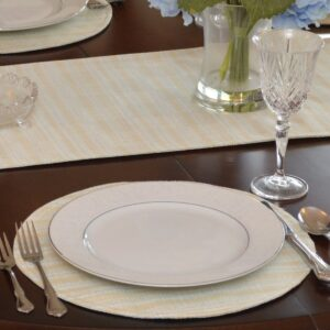 Sweet Pea Linens - Pale Blue Check Textured Charger-Center Round Placemat (SKU#: R-1015-U7) - Table Setting