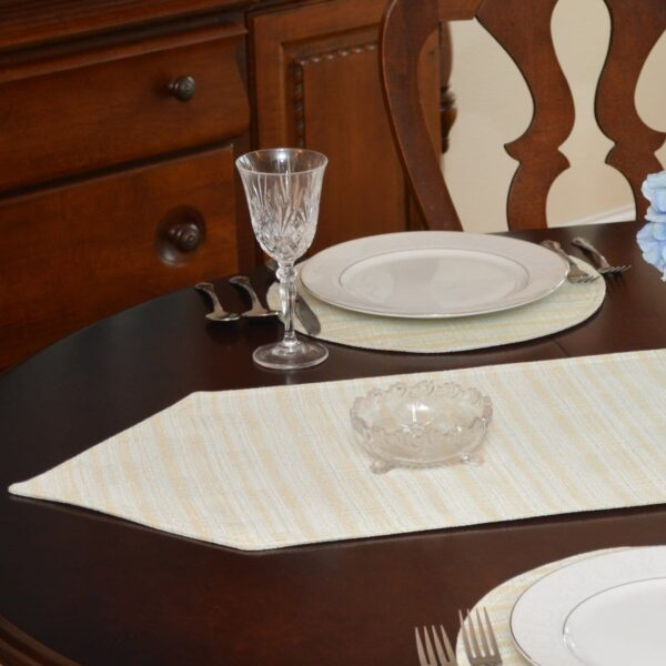 Sweet Pea Linens - Pale Blue Check Textured 54 inch Table Runner (SKU#: R-1020-U7) - Table Setting