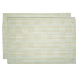 Sweet Pea Linens - Pale Blue Check Textured Rectangle Placemats - Set of Two (SKU#: RS2-1002-U7) - Product Image