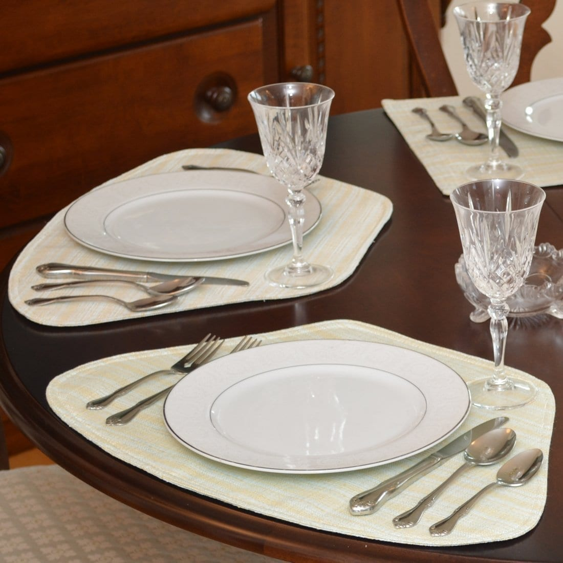 Sweet Pea Linens - Pale Blue Check Textured Wedge-Shaped Placemats - Set of Two (SKU#: RS2-1006-U7) - Table Setting