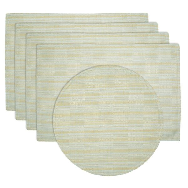 Sweet Pea Linens - Pale Blue Check Textured Rectangle Placemats - Set of Four plus Center Round-Charger (SKU#: RS5-1002-U7) - Product Image