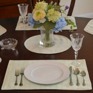 Sweet Pea Linens - Pale Blue Check Textured Rectangle Placemats - Set of Four plus Center Round-Charger (SKU#: RS5-1002-U7) - Table Setting