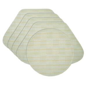 Sweet Pea Linens - Pale Blue Check Textured Wedge-Shaped Placemats - Set of Four plus Center Round-Charger (SKU#: RS5-1006-U7) - Product Image