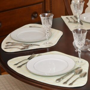 Sweet Pea Linens - Pale Blue Check Textured Wedge-Shaped Placemats - Set of Four plus Center Round-Charger (SKU#: RS5-1006-U7) - Table Setting