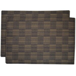 Sweet Pea Linens - Brown Check Textured Rectangle Placemats - Set of Two (SKU#: RS2-1002-U8) - Product Image