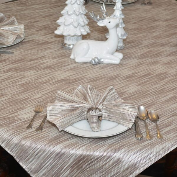 Sweet Pea Linens - Brown & Cream with Silver Metallic Striped 54 inch Square Table Cloth (SKU#: R-1008-U9) - Table Setting
