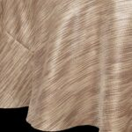 Sweet Pea Linens - Brown & Cream with Silver Metallic Striped 90 inch Round Table Cloth (SKU#: R-1009-U9) - Product Image