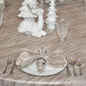 Sweet Pea Linens - Brown & Cream with Silver Metallic Striped 90 inch Round Table Cloth (SKU#: R-1009-U9) - Table Setting