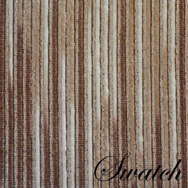 Sweet Pea Linens - Brown & Cream with Silver Metallic Striped 90 inch Round Table Cloth (SKU#: R-1009-U9) - Swatch