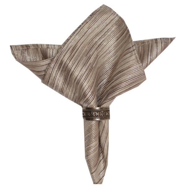 Sweet Pea Linens - Brown & Cream with Silver Metallic Striped Cloth Napkin (SKU#: R-1010-U9) - Product Image