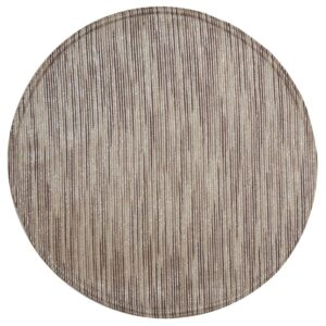 Sweet Pea Linens - Brown & Cream with Silver Metallic Striped Charger-Center Round Placemat (SKU#: R-1015-U9) - Product Image