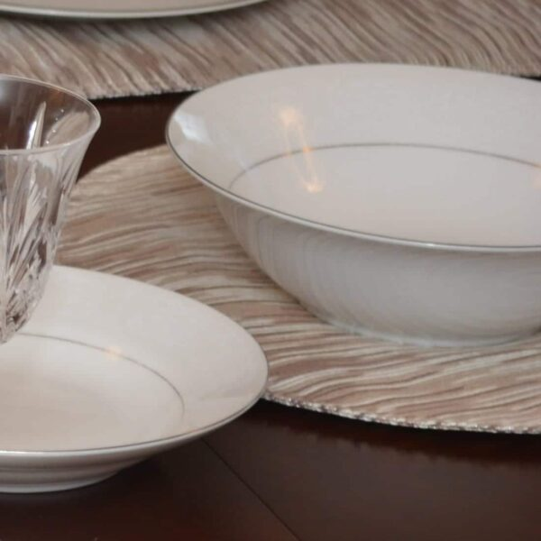 Sweet Pea Linens - Brown & Cream with Silver Metallic Striped Charger-Center Round Placemat (SKU#: R-1015-U9) - Table Setting