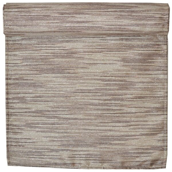 Sweet Pea Linens - Brown & Cream with Silver Metallic Striped 108 Inch Table Runner (SKU#: R-1022-U9) - Product Image