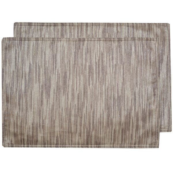 Sweet Pea Linens - Brown & Cream with Silver Metallic Striped Rectangle Placemats - Set of Two (SKU#: RS2-1002-U9) - Product Image