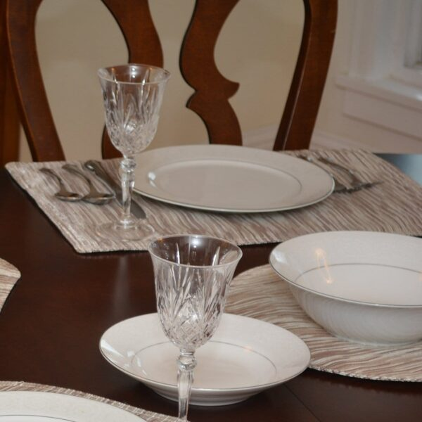 Sweet Pea Linens - Brown & Cream with Silver Metallic Striped Rectangle Placemats - Set of Two (SKU#: RS2-1002-U9) - Table Setting