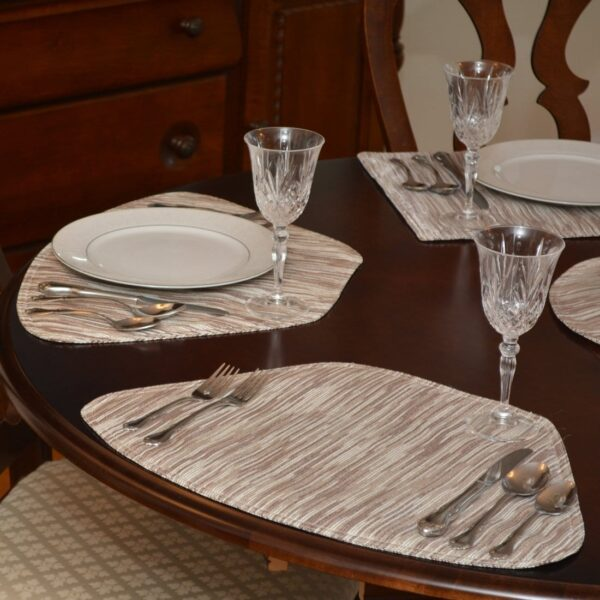 Sweet Pea Linens - Brown & Cream with Silver Metallic Striped Wedge-Shaped Placemats - Set of Two (SKU#: RS2-1006-U9) - Table Setting