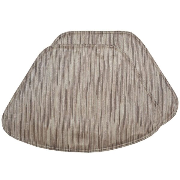 Sweet Pea Linens - Brown & Cream with Silver Metallic Striped Wedge-Shaped Placemats - Set of Four plus Center Round-Charger (SKU#: RS5-1006-U9) - Product Image