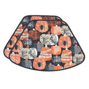 Sweet Pea Linens - Quilted French Halloween Wedge-Shaped Placemats - Set of Two (SKU#: RS2-1006-V1) - Product Image