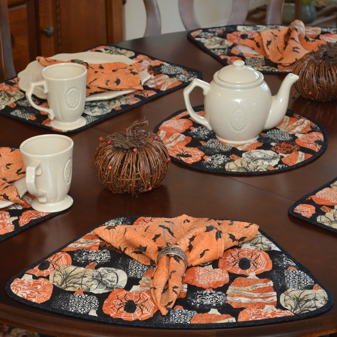Sweet Pea Linens - Quilted French Halloween Wedge-Shaped Placemats - Set of Two (SKU#: RS2-1006-V1) - Table Setting