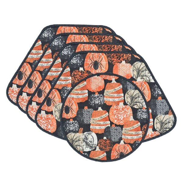 Sweet Pea Linens - Quilted French Halloween Wedge-Shaped Placemats - Set of Four plus Center Round-Charger (SKU#: RS5-1006-V1) - Product Image