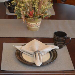 Sweet Pea Linens - Brown & Tan Dot Vinyl Wipe Clean 72 inch Table Runner (SKU#: R-1024-V2) - Table Setting