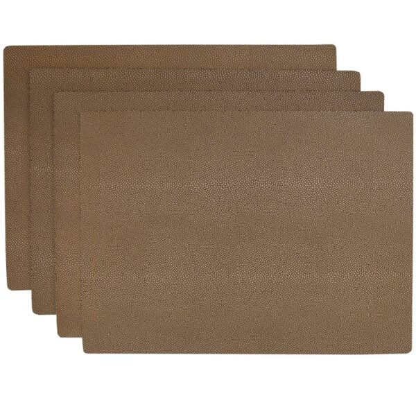 Sweet Pea Linens - Brown & Tan Dot Vinyl Wipe Clean Rectangle Placemats - Set of Four (SKU#: RS4-1002-V2) - Product Image