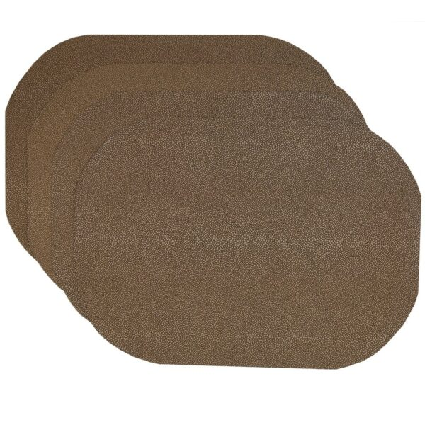 Sweet Pea Linens - Brown & Tan Dot Vinyl Wipe Clean Oval Placemats - Set of Four (SKU#: RS4-1040-V2) - Product Image
