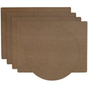 Sweet Pea Linens - Brown & Tan Dot Vinyl Wipe Clean Rectangle Placemats - Set of Four plus Center Round-Charger (SKU#: RS5-1002-V2) - Product Image