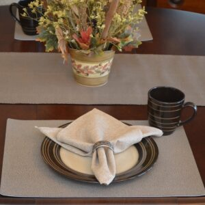 Sweet Pea Linens - Brown & Tan Dot Vinyl Wipe Clean Rectangle Placemats - Set of Four plus Center Round-Charger (SKU#: RS5-1002-V2) - Table Setting