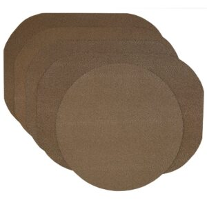 Sweet Pea Linens - Brown & Tan Dot Vinyl Wipe Clean Oval Placemats - Set of Four plus Center Round-Charger (SKU#: RS5-1040-V2) - Product Image