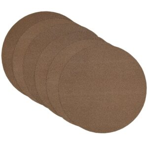 Sweet Pea Linens - Brown & Tan Dot Vinyl Wipe Clean Charger-Center Round Placemat - Set of Six (SKU#: RS6-1015-V2) - Product Image