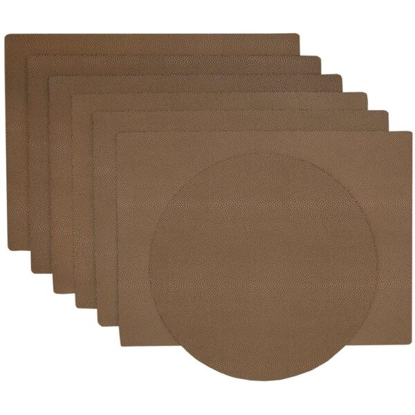 Sweet Pea Linens - Brown & Tan Dot Vinyl Wipe Clean Rectangle Placemats - Set of Six plus Center Round-Charger (SKU#: RS7-1002-V2) - Product Image