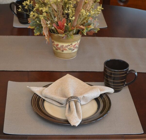 Sweet Pea Linens - Brown & Tan Dot Vinyl Wipe Clean Rectangle Placemats - Set of Six plus Center Round-Charger (SKU#: RS7-1002-V2) - Table Setting