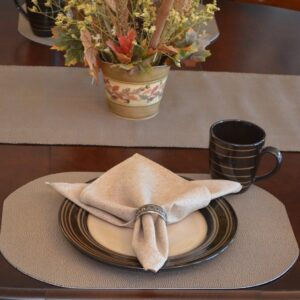 Sweet Pea Linens - Brown & Tan Dot Vinyl Wipe Clean Oval Placemats - Set of Six plus Center Round-Charger (SKU#: RS7-1040-V2) - Table Setting