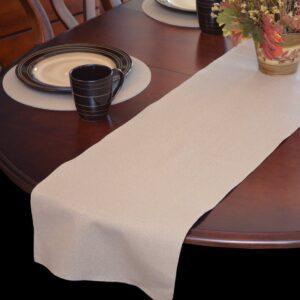 Sweet Pea Linens - Tan Dot Vinyl Wipe Clean 72 inch Table Runner (SKU#: R-1024-V3) - Table Setting