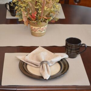 Sweet Pea Linens - Tan Dot Vinyl Wipe Clean Rectangle Placemats - Set of Four (SKU#: RS4-1002-V3) - Table Setting