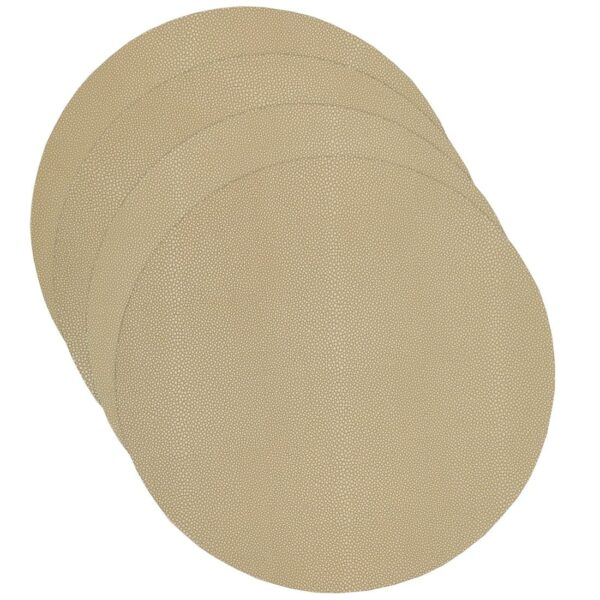 Sweet Pea Linens - Tan Dot Vinyl Wipe Clean Charger-Center Round Placemat - Set of Four (SKU#: RS4-1015-V3) - Product Image