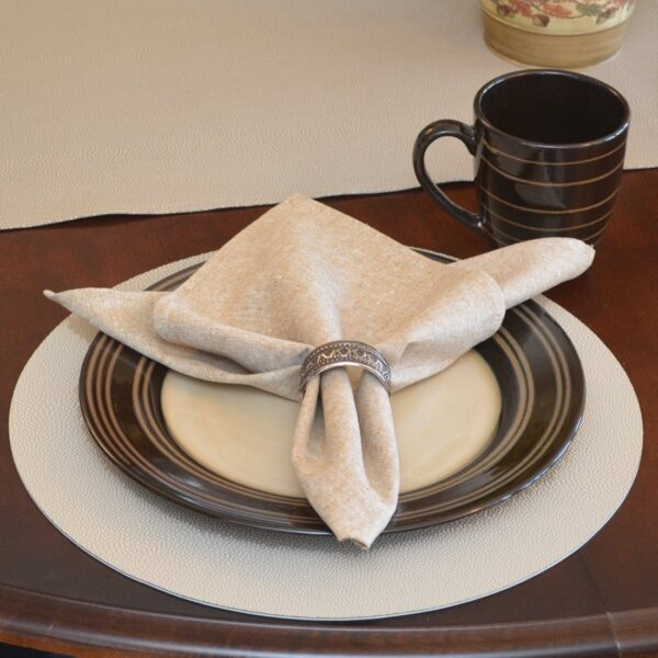 Sweet Pea Linens - Tan Dot Vinyl Wipe Clean Charger-Center Round Placemat - Set of Four (SKU#: RS4-1015-V3) - Table Setting