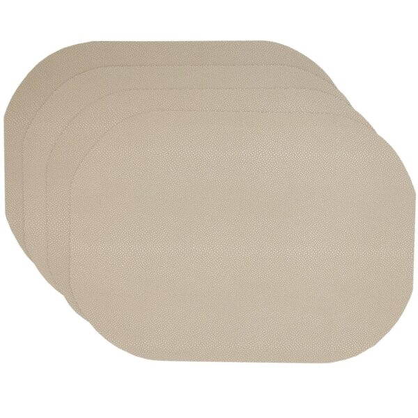 Sweet Pea Linens - Tan Dot Vinyl Wipe Clean Oval Placemats - Set of Four (SKU#: RS4-1040-V3) - Product Image