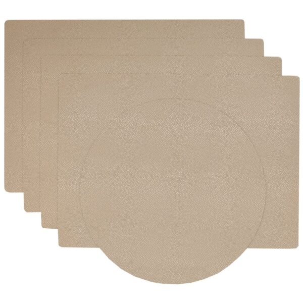 Sweet Pea Linens - Tan Dot Vinyl Wipe Clean Rectangle Placemats - Set of Four plus Center Round-Charger (SKU#: RS5-1002-V3) - Product Image
