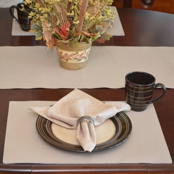 Sweet Pea Linens - Tan Dot Vinyl Wipe Clean Rectangle Placemats - Set of Four plus Center Round-Charger (SKU#: RS5-1002-V3) - Table Setting