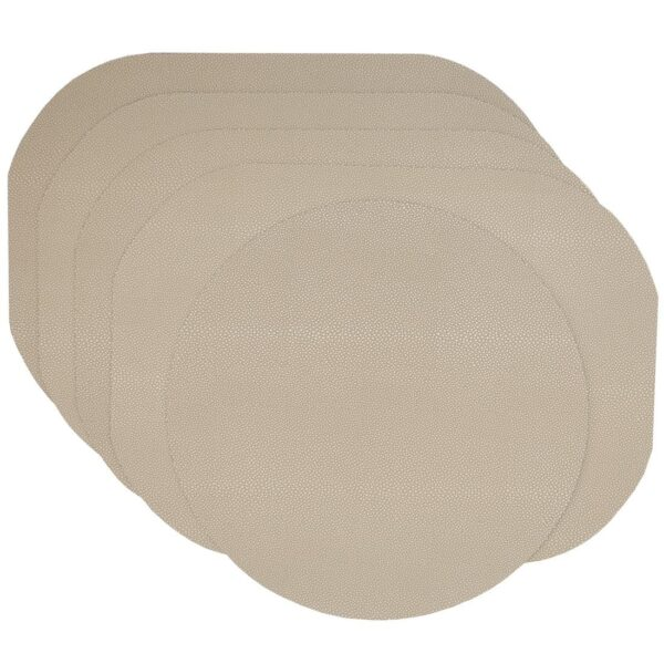 Sweet Pea Linens - Tan Dot Vinyl Wipe Clean Oval Placemats - Set of Four plus Center Round-Charger (SKU#: RS5-1040-V3) - Product Image