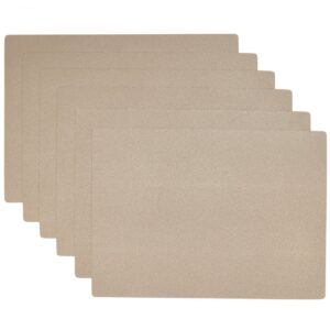 Sweet Pea Linens - Tan Dot Vinyl Wipe Clean Rectangle Placemats - Set of Six (SKU#: RS6-1002-V3) - Product Image