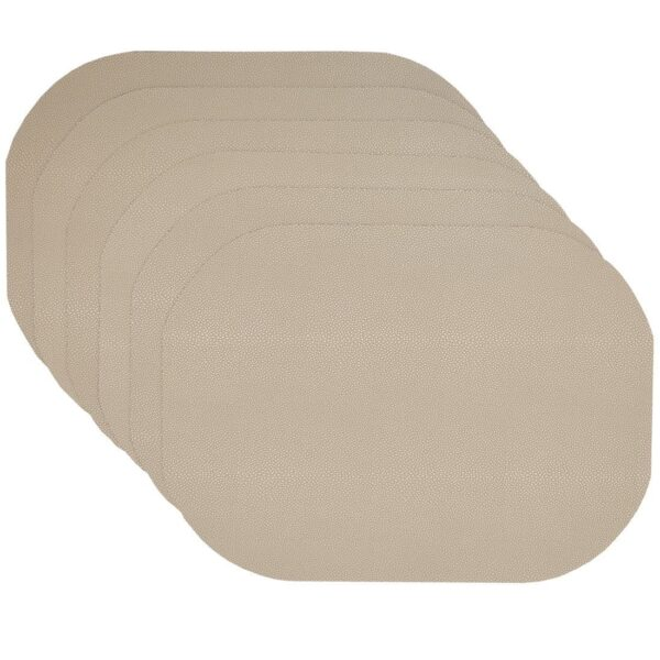 Sweet Pea Linens - Tan Dot Vinyl Wipe Clean Oval Placemats - Set of Six (SKU#: RS6-1040-V3) - Product Image